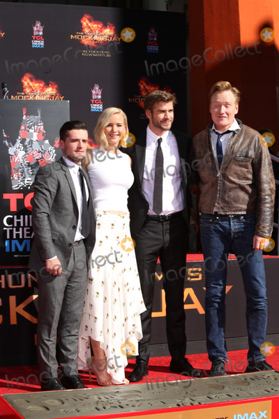 Conan OBrien Photo - LOS ANGELES - OCT 31  Josh Hutcherson Jennifer Lawrence Liam Hemsworth Conan OBrien at the Hunger Games Handprint and Footprint Ceremony at the TCL Chinese Theater on October 31 2015 in Los Angeles CA