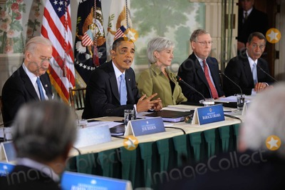 Kathleen Sebelius Photo - United States President Barack Obama delivers opening remarks at a bipartisan meeting to discuss health reform legislation at the Blair House in Washington DC USA 25 February 2010 President Obama is hosting a televised health care summit with Republican and Democratic lawmakers in efforts to craft healthcare overhaul legislation  From left to right US Vice President Joseph Biden President Obama US Secretary of Health and Human Services Kathleen Sebelius US Senate Republican Leader Mitch McConnell and US House Republican Leader John Boehner (Republican of Ohio) Photo by Shawn ThawPool -CNP-PHOTOlinknet