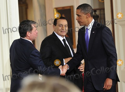 Abdullah II of Jordan Photo - Peace Talks8258JPGRESTRICTED NEW YORKNEW JERSEY OUTNO NEW YORK OR NEW JERSEY NEWSPAPERS WITHIN A 75 MILE RADIUS OF NYCUnited States President Barack Obama right shakes hands with King Abdullah II of Jordan left as President Hosni Mubarak of Egypt center looks on following statements in advance of the opening of the first direct talks in two years between Israel and the Palestinian Authority scheduled to begin at the State Department in Washington DC tomorrow in the East Room of the White House following their bi-lateral meetings  in Washington DC on Wednesday September 1 2010  Photo by Ron SachsPoolCNP-PHOTOlinknet