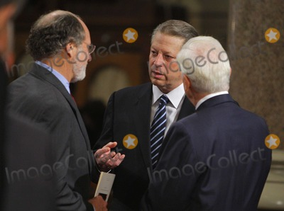 Al Gore Photo - Boston MA - August 29 2009 -- Former Vice President Al Gore (C) talks with US Senator Jon Corzine (D-NJ) (L) and US Senator Christopher Dodd (D-CT) (R)  during funeral services for US Senator Edward Kennedy at the Basilica of Our Lady of  Perpetual Help in Boston Massachusetts August 29 2009  Senator Kennedy died late Tuesday after a battle with cancer    Photo by Brian SnyderPOOL-CNP-PHOTOlinknet