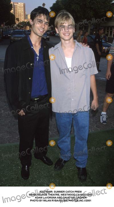 Adam LaVorgna Photo -  Summer Catch Prem Mann Village Theatre Westwood CA 08222001 Adam Lavorgna and David Gallagher Photo by Milan RybaGlobe Photosinc