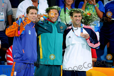 Ian Thorpe Photo - Ian Thorpe Pieter Van Den Hoogenband  Michael Phelps Australia Holland  USA Swimming Athens Greece 16082004 Di590 Photo ByallstarGlobe Photos Inc 2004