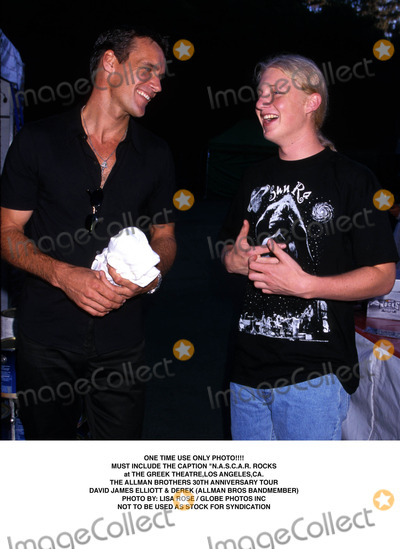 Allman Bros Photo - ONE TIME USE ONLY PHOTOMUST INCLUDE THE CAPTIONNASCAR ROCKSat THE GREEK THEATRE LOS ANGELES CATHE ALLMAN BROTHERS 30th ANNIVERSARY TOURDAVID JAMES ELLIOTT  DEREK (ALLMAN BROS BANDMEMBER)PHOTO BY LISA ROSEGLOBE PHOTOS INC1999NOT TO BE USED AS STOCK FOR SYNDICATION