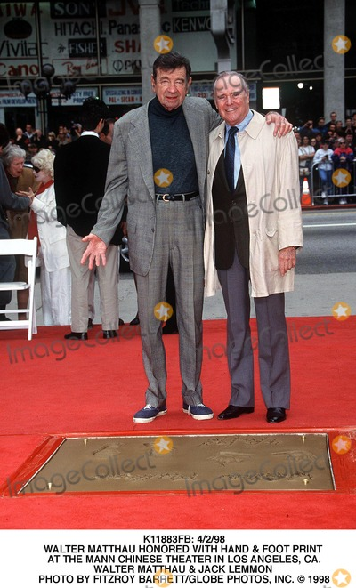 Walter Matthau Photo -  4298 Walter Matthau Honored with Hand  Foot Print at the Mann Chinese Theater in Los Angeles CA Walter Matthau  Jack Lemmon Photo by Fitzroy BarrettGlobe Photos Inc