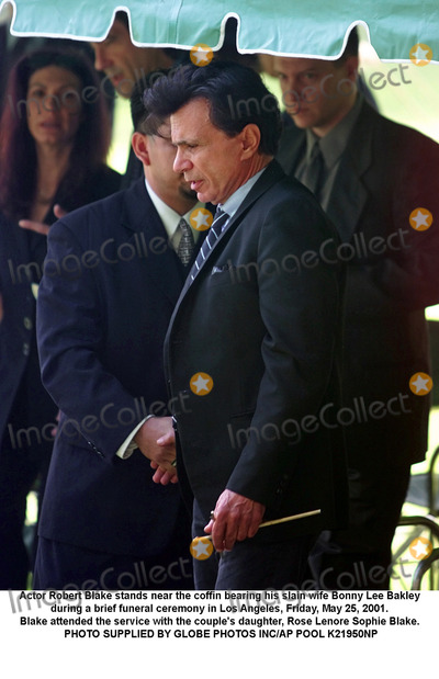 Sophie Blake Photo - Actor Robert Blake stands near the coffin bearing his slain wife Bonny Lee Bakley during a brief funeral ceremony in Los Angeles Friday May 25 2001  Blake attended the service with the couples daughter Rose Lenore Sophie Blake PHOTO SUPPLIED BY GLOBE PHOTOS INCAP POOL K21950NP