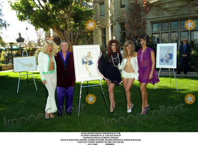 Carrie Stevens Photo - Hugh Hefner Press Confrence at the Playboy Mansion in LA For Auction of Watercolors by Alberto Vargas Kalm Olsonhugh Hefner Carrie Stevens Deanna Brooks  Karen Mcdougal Photo by Fitzroy BarrettGlobe Photos Inc 12-7-2000