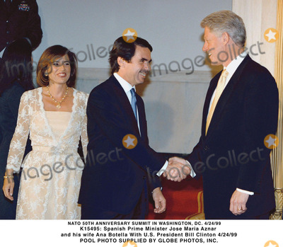 Ana Botella Photo - Spanish Prime Minister Jose Maria Aznar and His Wife Ana Botella Us President Bill Clinton Gamma Liaison N 350036