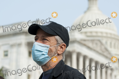 Jon Stewart Photo - Comedian Jon Stewart talks with reporters prior to a press conference regarding legislation to assist veterans exposed to burn pits outside the US Capitol in Washington DC Tuesday September 15 2020 Credit Rod Lamkey  CNPAdMedia