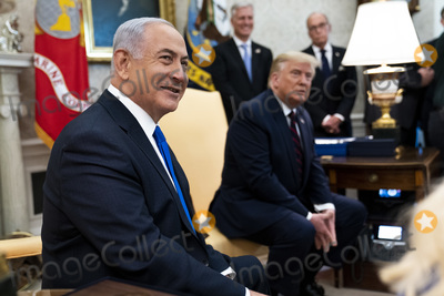 Benjamin Netanyahu Photo - United States President Donald J Trump meets with Prime Minister Benjamin Netanyhu of Israel ahead of the Abraham Accords Signing Ceremony on the South Lawn of the White House Tuesday Sept 15  2020  Credit Doug Mills  Pool via CNPAdMedia