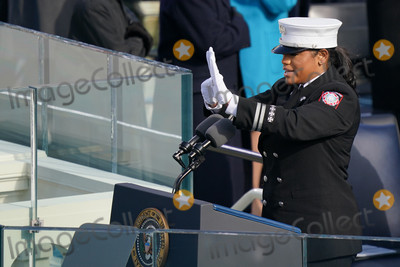 Andrea Hall Photo - Capt Andrea Hall of the city of South Fulton Ga delivered the pledge of allegiance Joe Biden is sworn in as the 46th President of the United States on Capitol Hill in Washington DC on January 20 2020 (Erin SchaffThe New York Times NYTINAUGNYTCREDIT Erin SchaffThe New York TimesAdMedia
