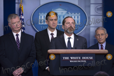 Alex Azar Photo - United States Secretary of Health and Human Services (HHS) Alex Azar delivers remarks in the James S Brady Press Briefing Room at the White House in Washington DC US on Friday January 31 2020  Azar announced that the United States has declared the Corona virus a public health emergencyCredit Stefani Reynolds  CNPAdMedia
