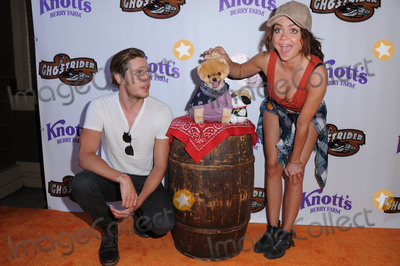 Jiff Pom Photo - 04 June 2016 - Buena Park California - Dominic Sherwood JiffPom Sarah Hyland Arrivals for Knotts Berry Farms Ghostrider Rides Again held at Knotts Berry Farm Photo Credit Birdie ThompsonAdMedia