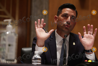Alex Wong Photo - Acting United States Secretary of Homeland Security Chad F Wolf testifies during a hearing before US Senate Homeland Security and Governmental Affairs Committee at Dirksen Senate Office Building August 6 2020 on Capitol Hill in Washington DC The committee held a hearing on Oversight of DHS Personnel Deployments to Recent Protests Credit Alex Wong  Pool via CNP
