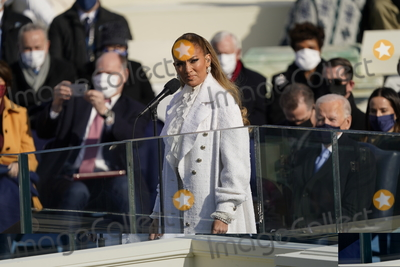 JENNIFER LOPEZ Photo - Jennifer Lopez performs prior to United States President Joe Biden taking the Oath of Office as the 46th President of the US at the US Capitol in Washington DC on Wednesday January 20 2021  Credit Chris Kleponis  CNPAdMedia