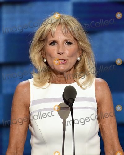 Jill Biden Photo - Dr Jill Biden makes remarks during the third session of the 2016 Democratic National Convention at the Wells Fargo Center in Philadelphia Pennsylvania on Wednesday July 27 2016 Photo Credit Ron SachsCNPAdMedia