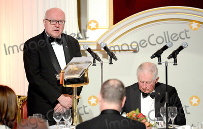 Wale Photo - 12032020 - Prince Charles Prince of Wales (R) listens to a speech by the High Commissioner for Australia George Brandis (L) as they attend a dinner in aid of the Australian bushfire relief and recovery effort at Mansion House in London Photo Credit ALPRAdMedia