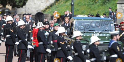 Prince Photo - Photo Must Be Credited Alpha Press 073074 17042021Prince Charles Prince of Wales Prince William Duke of Cambridge Prince Harry Duke of Sussex and Vice-Admiral Sir Timothy Laurence follow Prince Philip Duke of Edinburghs coffin on a modified Jaguar Land Rover during the Ceremonial Procession during the funeral of Prince Philip Duke of Edinburgh at St Georges Chapel in Windsor Castle in Windsor Berkshire No UK Rights Until 28 Days from Picture Shot Date AdMedia