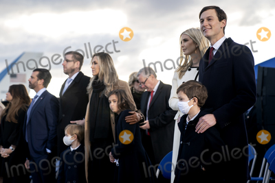JARED KUSHNER Photo - Jared Kushner senior White House adviser right stands with members of the First Family and White House Chief of Staff Mark Meadows prior to a farewell ceremony at Joint Base Andrews Maryland US on Wednesday Jan 20 2021 Trump departs Washington with Americans more politically divided and more likely to be out of work than when he arrived while awaiting trial for his second impeachment - an ignominious end to one of the most turbulent presidencies in American history Credit Stefani Reynolds  Pool via CNPAdMedia