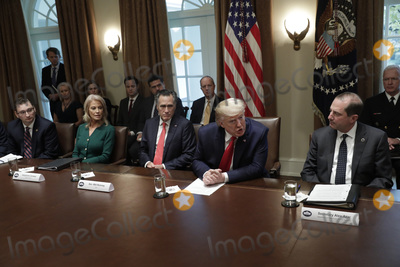 Alex Azar Photo - United States President Donald J Trump speaks during a meeting on youth vaping and the electronic cigarette epidemic in the Cabinet Room at the White House in Washington on November 22 2019 Pictured from left to right unidentified Senior Counselor Kellyanne Conway US Senator Mitt Romney (Republican of Utah) The President and US Secretary of Health and Human Services (HHS) Alex AzarCredit Yuri Gripas  Pool via CNPAdMedia