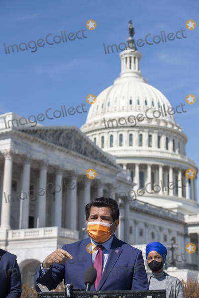 Gomez Photo - United States Representative Jimmy Gomez (Democrat of California) offers remarks during a press conference regarding rent and mortgage cancellation at the US Capitol in Washington DC Thursday March 11 2021 Credit Rod Lamkey  CNPAdMedia