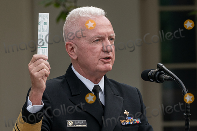 The White Photo - Admiral Brett Giroir United States Assistant Secretary for Health demonstrates a covid-19 test during an update by US President Donald Trump on the Nations Coronavirus Testing Strategy in the Rose Garden of the White House September 28 2020 in Washington DC   Credit Ken Cedeno  Pool via CNPAdMedia