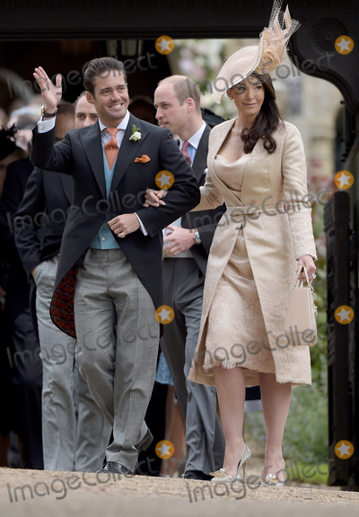 Prince William Photo - 20 May 2017 - Nina Mackie with her brother and best man Spencer Matthews also pictured James Middleton and Prince William Duke of Cambridge in the background at the wedding of James Matthews and Pippa Middleton at St Marks Church Englefield Berkshire UK Photo Credit ALPRAdMedia