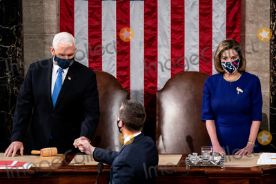 House Speaker Nancy Pelosi Photo - House Speaker Nancy Pelosi and Vice President Mike Pence preside over a Joint session of Congress to certify the 2020 Electoral College results on Capitol Hill in Washington DC on January 6 2020 Credit Erin Schaff  Pool via CNPAdMedia