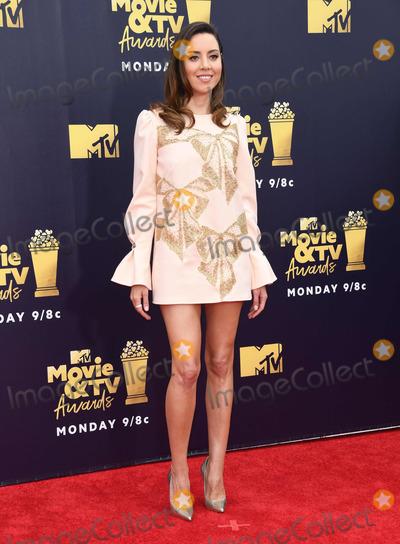 Aubrey Plaza Photo - 16 June 2018 - Santa Monica California - Aubrey Plaza 2018 MTV Movie and TV Awards held at  Barker Hangar Photo Credit Birdie ThompsonAdMedia