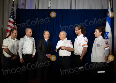 Michael Bloomberg Photo - Former NYC Mayor and 2020 Democratic presidential candidate Michael Bloomberg meets with Israeli Megen David Adom paramedics Dedi Otek Ido Rosenblatt Michael Bloomberg Yonotan Yagovdosky Yuval Eran and Elana Abrams backstage after speaking to 18000 delegates to the AIPAC Policy Conference in Washington DC March 2 2020 Bloomberg Philanthropies is a major donor to MDA including their flagship emergency medical station in Jerusalem one of 169 this one named for Bloombergs father MDA is Israels national emergency medical and blood services organization Credit Marty van DuyneCNPAdMedia
