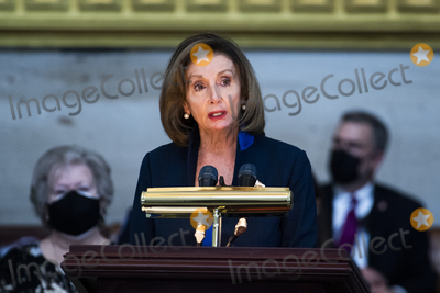 Representative Nancy Pelosi Photo - UNITED STATES - APRIL 13 Speaker of the United States House of Representatives Nancy Pelosi (Democrat of California) speaks during the service for US Capitol Officer William Billy Evans as his remains lie in honor in the Capitol Rotunda in Washington DC on Tuesday April 13 2021 Evans was killed when a driver rammed the north barricade of the Capitol on April 2 2021 Credit Tom Williams  Pool via CNPAdMedia