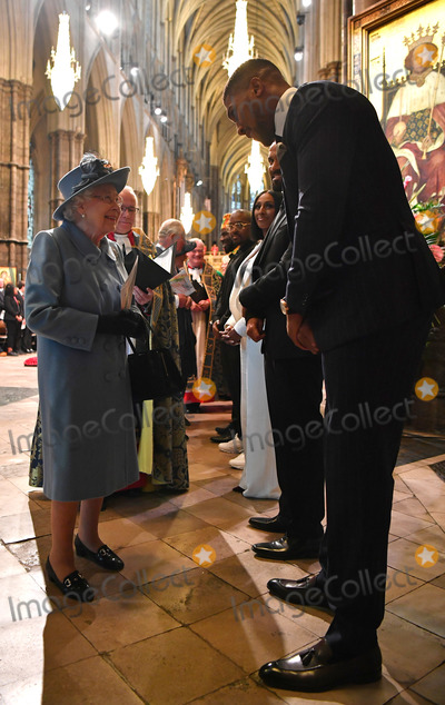 Queen Elizabeth II Photo - 09032020 - Queen Elizabeth II and Anthony Joshua Craig David and Alexandra Burke Commonwealth Day 2020 Service at Westminster Abbey in London Photo Credit ALPRAdMedia