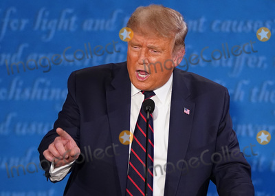 Presidential Campaign Photo - United States President Donald J Trump speaks during the first of three scheduled 90 minute presidential debates with Democratic presidential nominee Joe Biden in Cleveland Ohio on Tuesday September 29 2020Credit Kevin Dietsch  Pool via CNPAdMedia