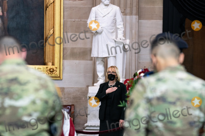 The Used Photo - United States Senator Maggie Hassan (Democrat of New Hampshire) pays her respects as the late Officer William Billy Evans lies in honor in the Rotunda of the US Capitol in Washington DC in Washington DC on April 13th 2020Credit Anna Moneymaker  Pool via CNPAdMedia