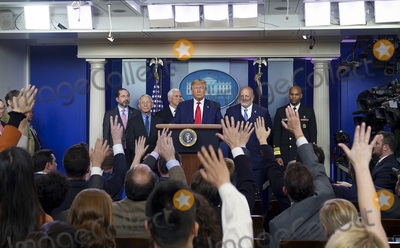Alex Azar Photo - United States President Donald J Trump holds a press conference to discuss the latest updates about the coronavirus in the Brady Briefing Room at the White House in Washington DC on February 29 2020 The first coronavirus-related death in the United States was confirmed in the Seattle area During the press conference Vice President Mike Pence stated that the United States would be expanding travel restrictions from Iran to include any foreign national who has visited Iran within the last 14 days and that the United States would heighten a travel advisory for specific regions of Italy and South Korea Joining the President is Health and Human Services Secretary Alex Azar National Institute for Allergy and Infectious Diseases Director Anthony Fauci Vice President Mike Pence Centers for Disease Control and Prevention Director Robert Redfield and Surgeon General Jerome AdamsCredit Leigh Vogel  Pool via CNPAdMedia