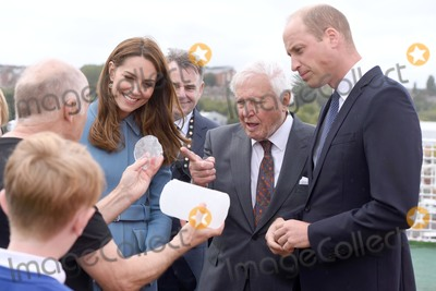 David Attenborough Photo - 26092019 - Prince William Duke of Cambridge and Duchess of Cambridge with Sir David Attenborough are shown a section of ice core from the Antarctic during the naming ceremony of Britains new polar research ship the RRS Sir David Attenborough at Camel Laird Shipyard in Birkenhead Merseyside Photo Credit ALPRAdMedia