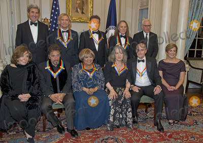 Joe Walsh Photo - The five recipients of the 39th Annual Kennedy Center Honors pose for a group photo following a dinner hosted by United States Secretary of State John F Kerry in their honor at the US Department of State in Washington DC on Saturday December 3 2016  The 2016 honorees are Argentine pianist Martha Argerich rock band the Eagles screen and stage actor Al Pacino gospel and blues singer Mavis Staples and musician James Taylor  From left to right back row United States Secretary of State John Kerry Joe Walsh Don Henley and Timothy B Schmidt of the rock band The Eagles  and David M Rubenstein Chairman John F Kennedy Center for the Performing Arts  Front row left to right Teresa Heinz-Kerry Al Pacino Mavis Staples Martha Argerich James Taylor and Deborah F Rutter President of the John F Kennedy Center for the Performing ArtsCredit Ron Sachs  Pool via CNPAdMedia