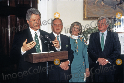 Jean Kennedy Photo - United States President Bill Clinton makes remarks as he participates in the annual presentation of a bowl of shamrocks honoring St Patricks Day with Taoiseach (Prime Minister) Albert Reynolds of Ireland in the Roosevelt Room of the White House in Washington DC on March 17 1993 During his remarks President Clinton announced he was naming Jean Kennedy Smith as US Ambassador to Ireland  From left to right President Clinton Prime Minister Reynolds Jean Kennedy Smith and US Senator Ted Kennedy (Democrat of Massachusetts)Credit Martin H Simon  Pool via CNPAdMedia