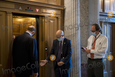 Alabama Photo - United States Senator Pat Roberts (Republican of Kansas) right chats with United States Senator Richard Shelby (Republican of Alabama) left as they board an elevator following a vote at the US Capitol in Washington DC Wednesday October 21 2020 Credit Rod Lamkey  CNPAdMedia
