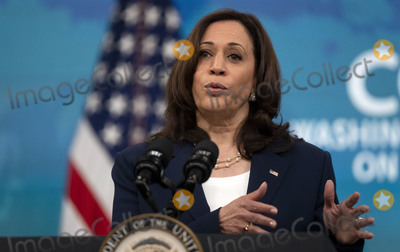 Kamala Harris Photo - Vice President Kamala Harris delivers remarks during the 51st Annual Washington Conference on the Americas in the South Court Auditorium on Tuesday May 4 2021 in Washington DC The conference features remarks by senior US government officials and leaders offering an early opportunity for participants to hear directly from the new Biden administration on its hemispheric policy agenda   Credit Leigh Vogel  Pool via CNPAdMedia