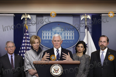Alex Azar Photo - United States Vice President Mike Pence speaks during a press conference with members of the Coronavirus Task Force at the White House in Washington on March 3 2020 From left to right Director of the National Institute of Allergy and Infectious Diseases at the National Institutes of Health Dr Anthony Fauci White House coronavirus response coordinator Dr Deborah Birx Vice President Pence Seema Verma Administrator Centers for Medicare and Medicaid Services and US Secretary of Health and Human Services (HHS) Alex AzarCredit Yuri Gripas  Pool via CNPAdMedia