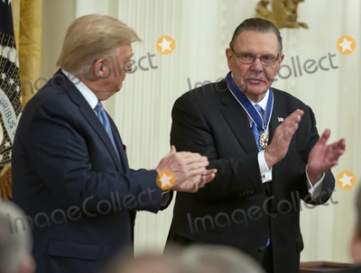 Keane Photo - United States President Donald J Trump left and US Army General John M Jack Keane (retired) right applaud after after Keane received the Presidential Medal of Freedom during a ceremony in the East Room of the White House in Washington DC on Tuesday March 10 2020  Keane is a former Vice Chief of Staff of the US Army and is a Fox News national security analystCredit Ron Sachs  CNPAdMedia