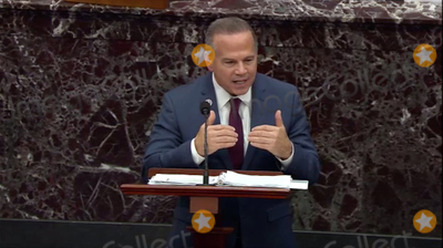 The Used Photo - In this image from United States Senate television US Representative David Cicilline (Democrat of Rhode Island) Manager on the Part of the US House makes his closing argument during Day 5 of the second impeachment trial of the former president in the US Senate in the US Capitol in Washington DC on Saturday February 13 2021Mandatory Credit US Senate TV via CNPAdMedia