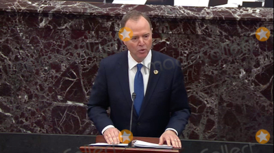 Adam Schiff Photo - In this image from United States Senate television US Representative Adam Schiff (Democrat of California) Chairman US House Permanent Select Committee on Intelligence makes his closing argument during the impeachment trial of US President Donald J Trump in the US Senate in the US Capitol in Washington DC on Monday February 3 2020Mandatory Credit US Senate Television via CNPAdMedia