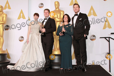 Adam Stockhausen Photo - 22 February 2015 - Hollywood California -(L-R) Actress Felicity Jones Adam Stockhausen Anna Pinnock winners of the Best Production Design Award for The Grand Budapest Hotel and presentor Chris Pratt pose in the press room during the 87th Annual Academy Awards presented by the Academy of Motion Picture Arts and Sciences held at the Dolby Theatre Photo Credit Theresa BoucheAdMedia