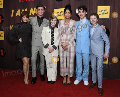 Aidan Wojtak-Hissong Photo - 25 February 2020 - West Hollywood California - Katheleen Rose Perkins Richard Ellis Sophia Lillis Sofia Bryant Wyatt Oleff Aidan Wojtak-Hissong Sophia Lillis  Netflixs Im Not Okay With That Los Angeles Premiere held at The London West Hollywood Photo Credit Birdie ThompsonAdMedia
