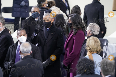 First Lady Michelle Obama Photo - Former United States President Barack Obama greets guests with former first lady Michelle Obama and former US President George W Bush prior to Joe Biden takes the Oath of Office as the 46th President of the US at the US Capitol in Washington DC on Wednesday January 20 2021  Credit Chris Kleponis  CNPAdMedia