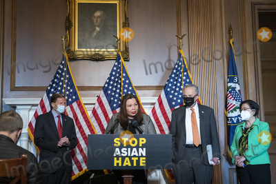 The Used Photo - United States Senator Tammy Duckworth (Democrat of Illinois) second from left is joined by United States Senator Richard Blumenthal (Democrat of Connecticut) left United States Senate Majority Leader Chuck Schumer (Democrat of New York) second from right and United States Senator Mazie Hirono (Democrat of Hawaii) right during a press conference following Senate passage of the COVID-19 Hate Crimes Act at the US Capitol in Washington DC Thursday April 22 2021 Credit Rod Lamkey  CNPAdMedia