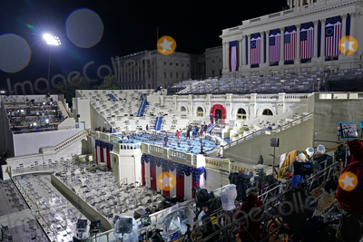 The Unit Photo - The stage was set for Joe Bidens inauguration as the 46th President of the United States on Capitol Hill in Washington DC on January 20 2020 Credit Erin Schaff  Pool via CNPAdMedia