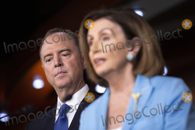 Adam Schiff Photo - Speaker of the United States House of Representatives Nancy Pelosi (Democrat of California) joined by United States Representative Adam Schiff (Democrat of California) speak at a press conference on Capitol Hill in Washington DC US on October 2 2019 Credit Stefani ReynoldsCNPAdMedia