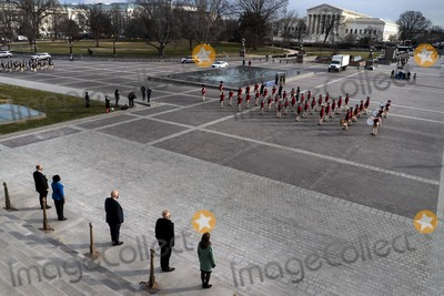 Nas Photo - WASHINGTON DC - JANUARY 18 2021 On the East Front steps of the US Capitol lined by Honor Guard during Pass Review lawmakers staff and Sergeant at Arms staff run through the movements during rehearsal for Wednesdays 59th Inauguration Ceremonies on Capitol Hill in Washington DC Monday January 18 2021Credit Melina Mara  Pool via CNPAdMedia